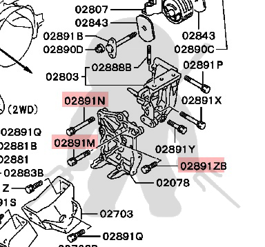 Mitsubishi OEM 3000GT Stealth DOHC AC Cast Bracket to Block Bolt Kit