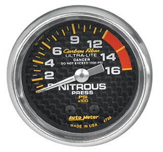Nitrous Pressure 0-1600psi #4728 Carbon Fiber Series 52mm
