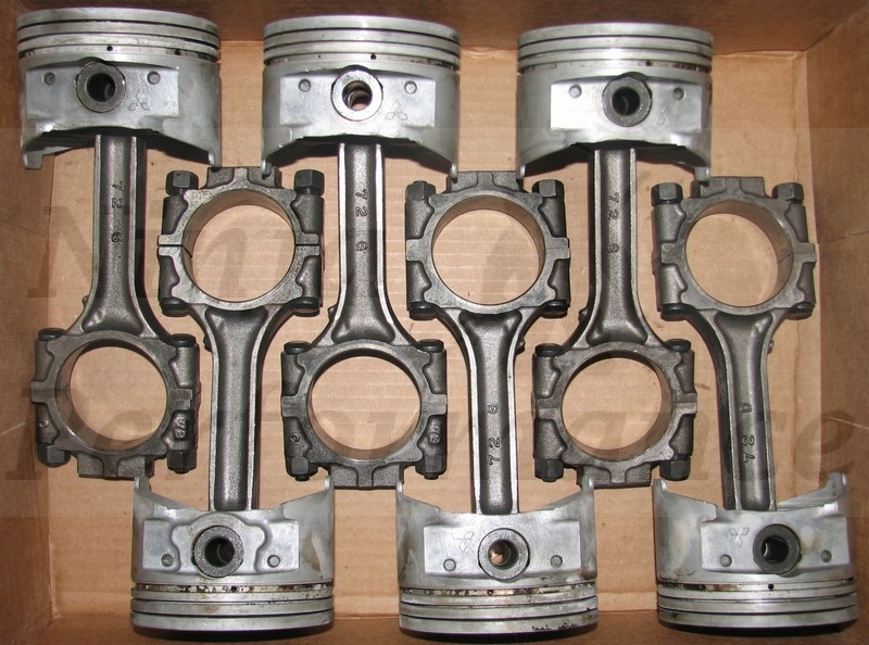 Used OEM 6G72 DOHC Turbo Piston and Rod Set of 6
