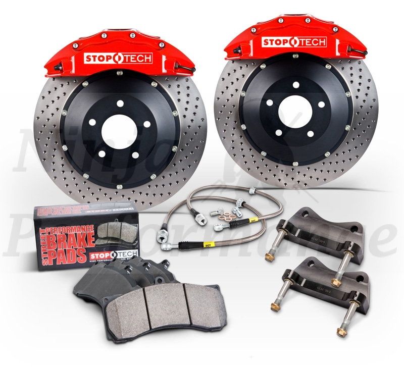 StopTech Big Brake Kit 1991-1999 3000GT VR4/Stealth RT/TT 355x32mm Drilled Rotors - Front - Red